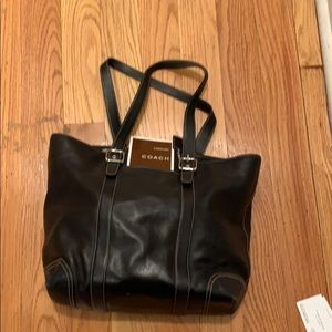 Classic Coach Zip Top Black Leather Tote